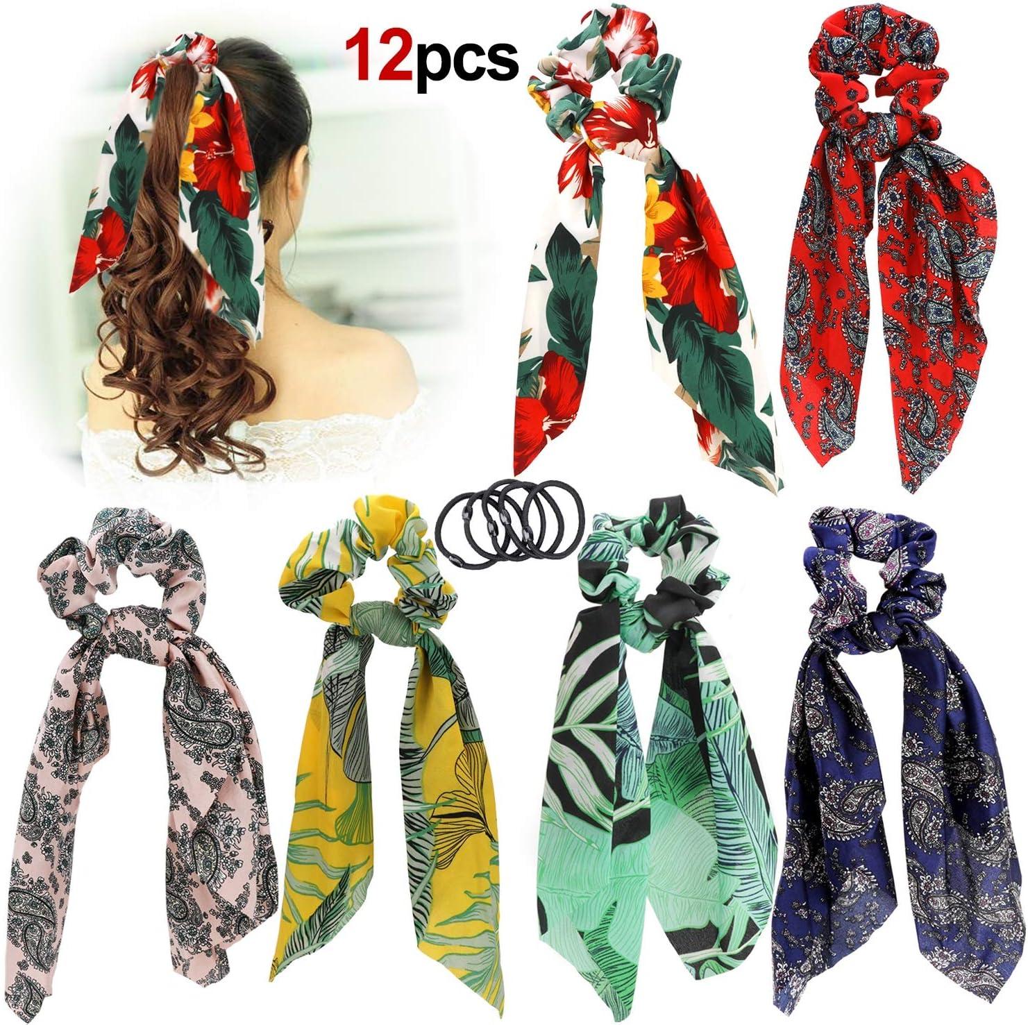 UK New Women Hair Scrunchies Bowknot Ponytail Holder  Elastic Print Headbands