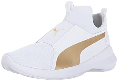 PUMA Womens Rebel Mid WNS White Team Gold 10.5 M US