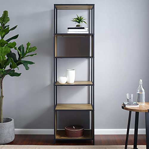Walker Edison Modern Metal and Wood Bookcase Bookshelf Home Office Living Room Storage