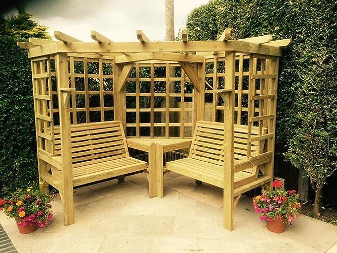 Muebles de jardín de madera. Pérgola de jardín enrejada para esquina con asientos.: Amazon.es: Jardín
