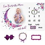 LUKA&LILY Baby Monthly Milestone Blanket Girl, Milestone Blanket for Baby Girl, Baby Girl Gifts for Baby Shower Nursery Decor