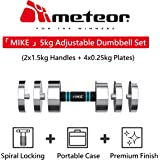 METEOR 5KG Adjustable Dumbbell Set with Foam Handles Dumbbells Body Weights Plates Adjustable Home Gym Fitness Exercise Workout Training Bar Hand Rack Bench Press Squat