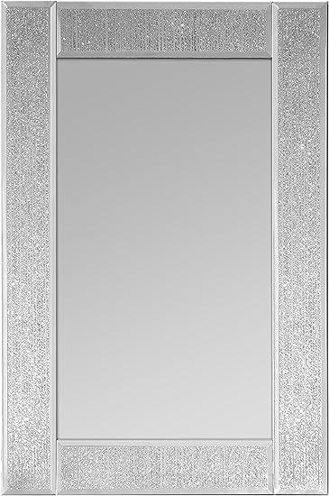 in Vetro//Scintillante Rettangolare Specchio da Parete Innova M06896 Ascot 30 x 45 cm Colore: Argento