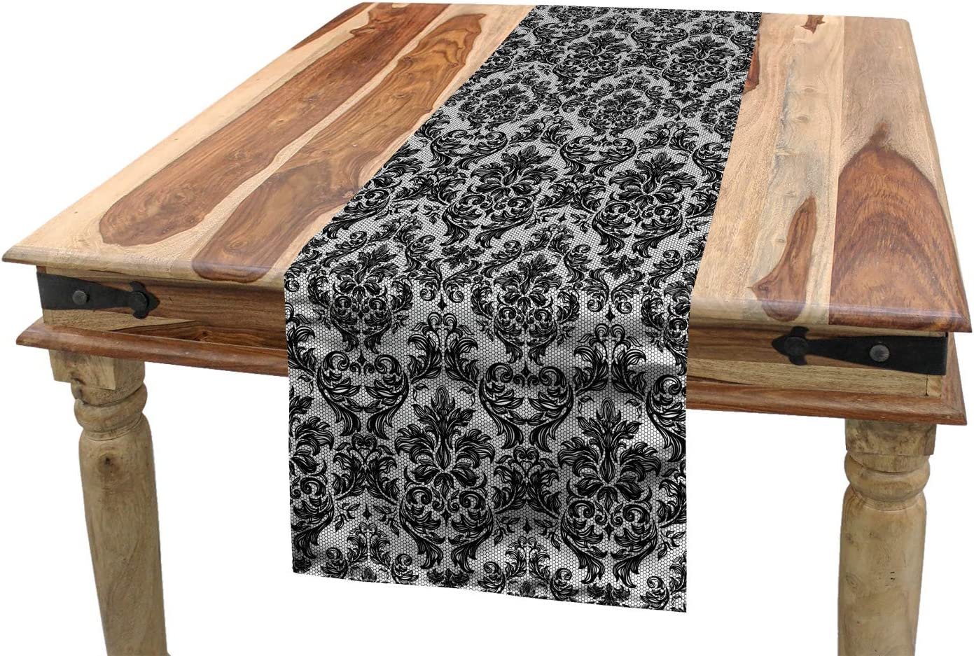 ABAKUHAUS Black and Grey Table Runner Black and Grey Dining Room Kitchen Rectangular Runner Abstract Petal Silhouettes on a Grey Backdrop Ornamental Floral Pattern 16 W X 72 L Inches