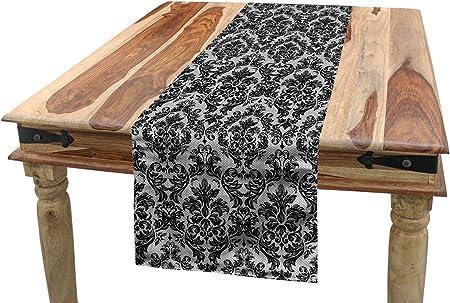 Abakuhaus Baroque Chemin De Table Vintage Dentelle Style Rectangulaire Decoratif Pour Salle A Manger 40 Cm X 180 Cm Noir Et Blanc Amazon Fr Cuisine Maison