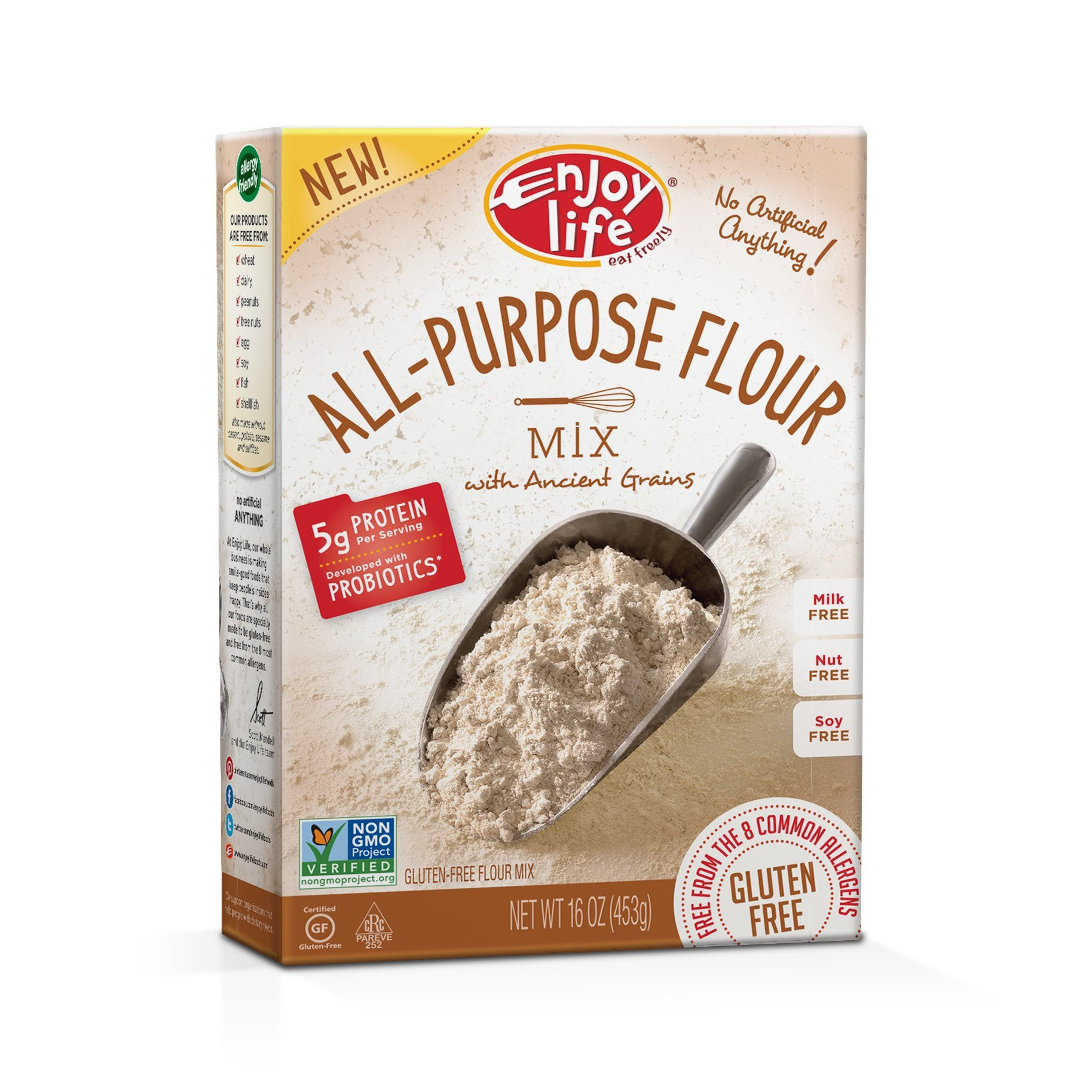 Enjoy Life Gluten Free All-Purpose Flour Mix, Gluten, Dairy, Nut & Soy Free and Vegan, 16 Ounce