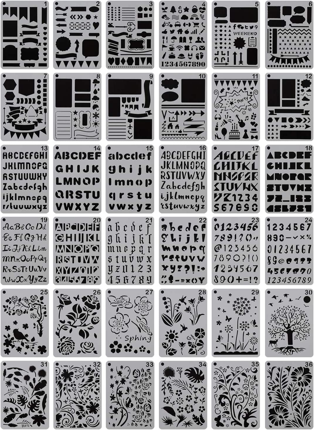 """YUEAON 36-Pack 5"""" x 7"""" Drawing Stencils Floral Letter and Number Template Stencil for A5 Bullet Journal Scrapbooking Notebook Dairy Planner Craft"""