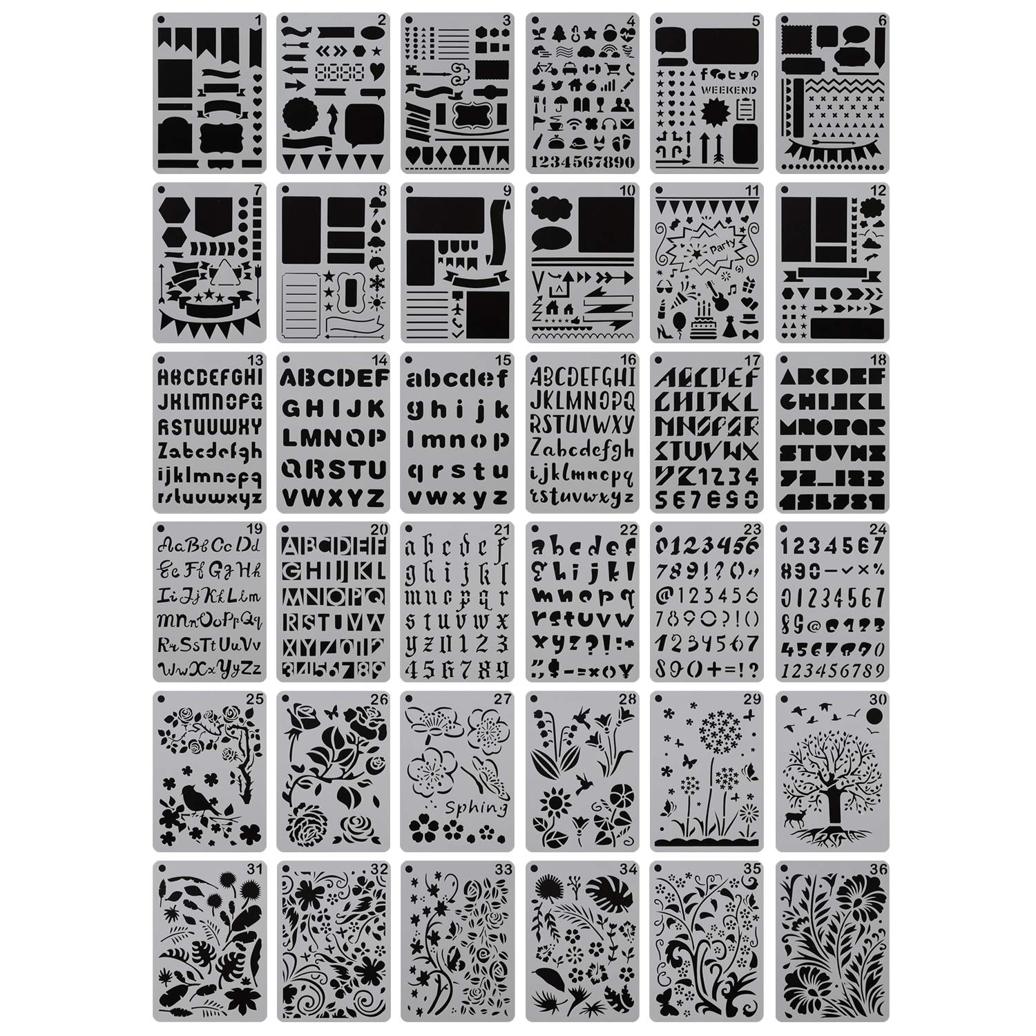 YUEAON 36-Pack 5'' x 7'' Drawing Stencils Floral Letter and Number Template Stencil for A5 Bullet Journal Scrapbooking Notebook Dairy Planner Craft by YUEAON