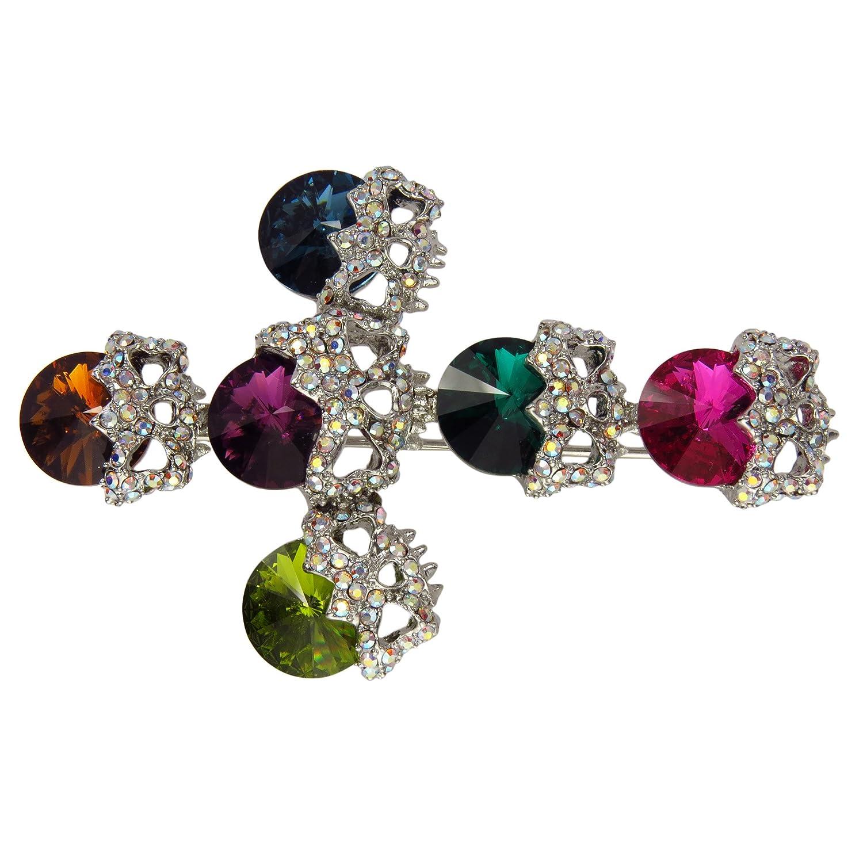 Swarovski Crystal Brooch Skull Cross Design