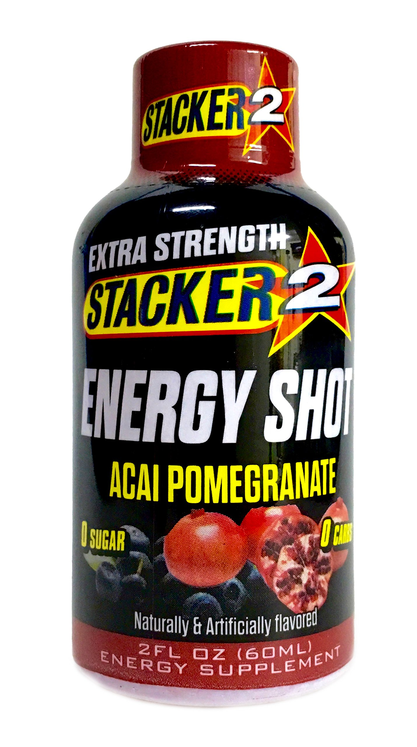Stacker 2 Energy Shot, 'EXTRA STRENGTH' Acai Pomegranate, 2-Ounce Bottles (Pack of 16) (Extra Strength Pomegranate, 16 Shots) by STACKER 2