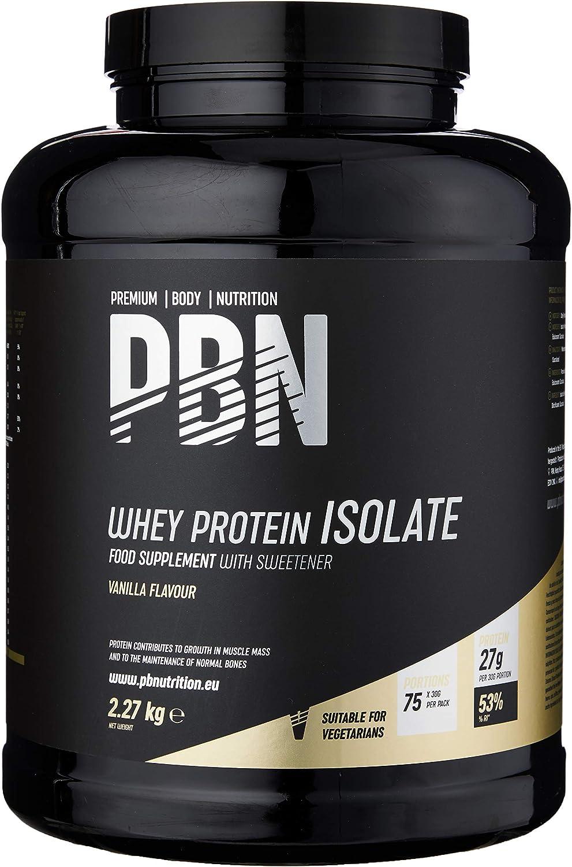 PBN - Premium Body Nutrition - Aislado de proteína de suero de leche en polvo (Whey-ISOLATE), 2,27 kg, sabor vainilla (75 porciones)