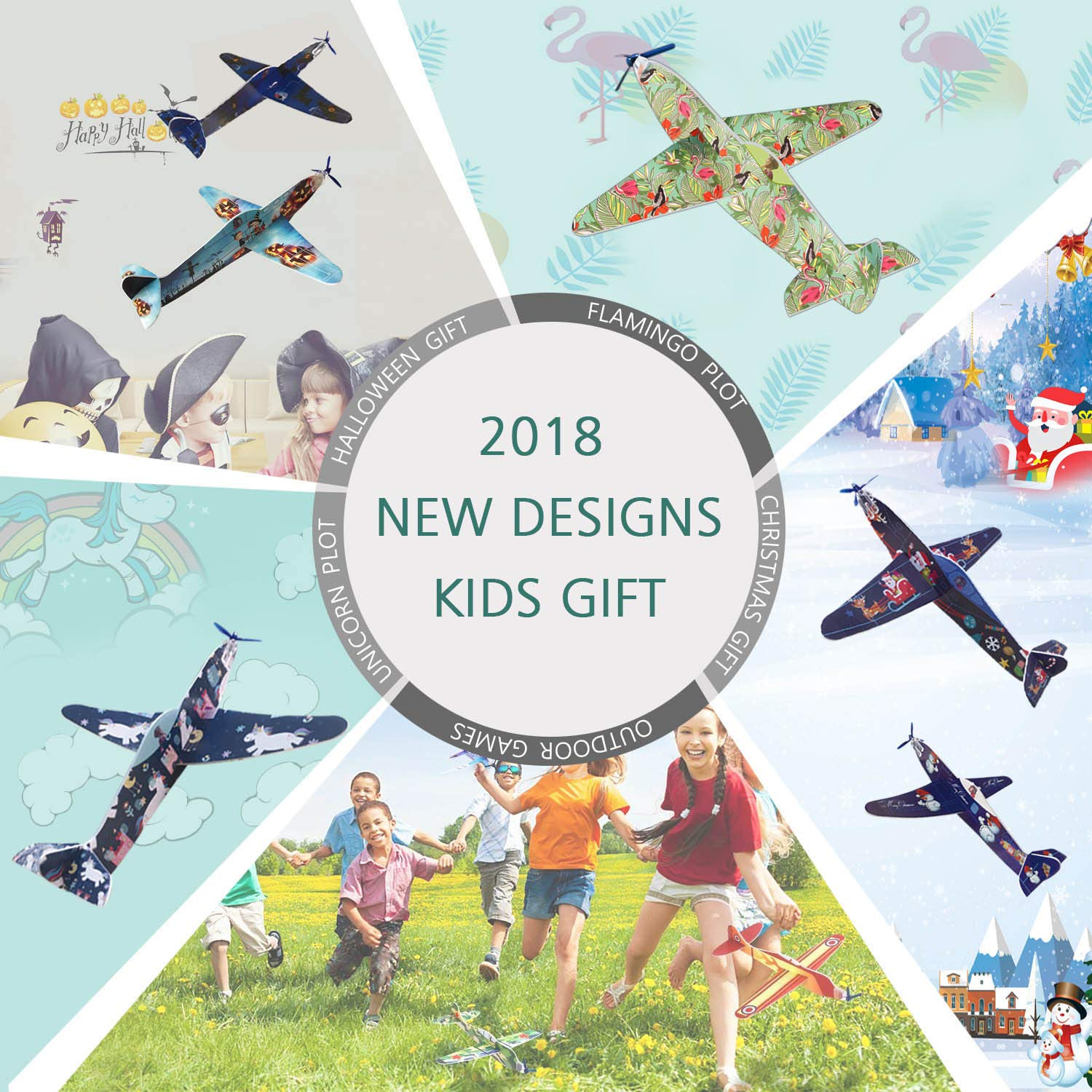 Smilkat Glider Plane Party Favors - 12 New Models 24 Pack 8 inch Flying Styrofoam Airplanes, Easy Assembly, Kids Toy for Birthday Party, School Classroom Rewards Carnival Prizes by Smilkat (Image #1)