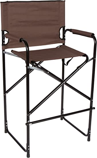 Home And Comfort Lightweight And Durable Aluminum Folding Tall Directoru0027s  Chair (Brown)
