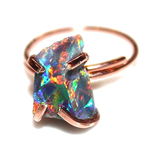 Amazoncom Raw Opal Ring Rose Gold Handmade