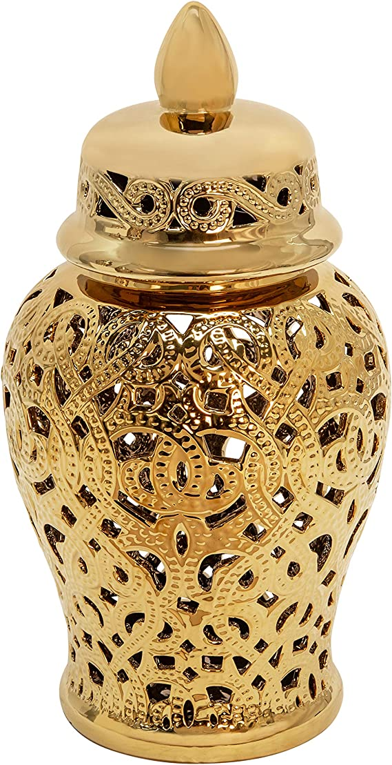 Sagebrook Home 15405 01 Ceramic 18 Cut Out Temple Jar Shiny Gold Home Kitchen Amazon Com