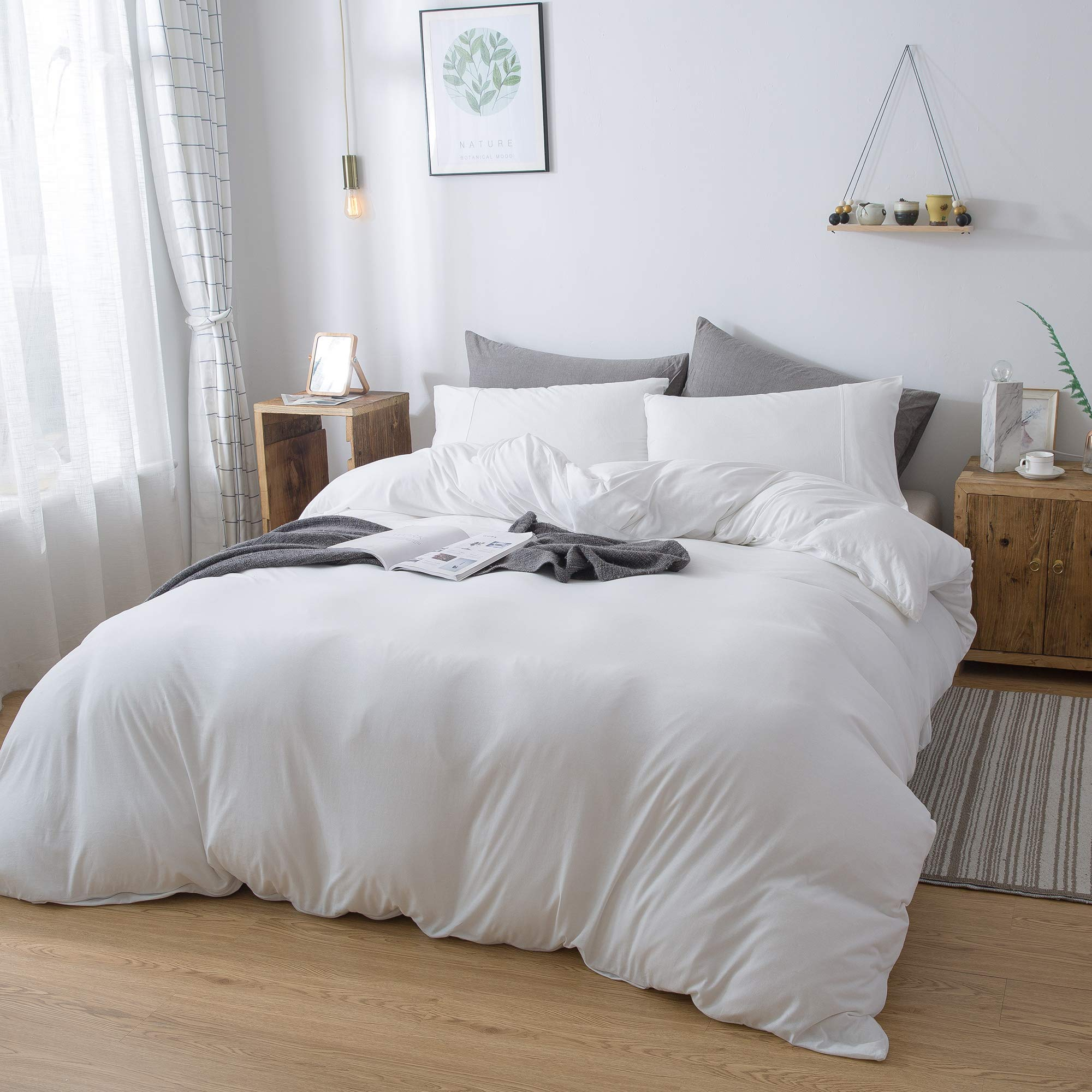 Household 100% Cotton Jersey Knit Duvet Cover Comfortable, Super Soft Includes 2 Pillowcase (White Queen)