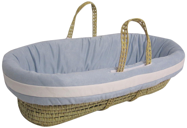 ベビードール寝具スエードホテルモーゼズバスケットセット、ブルー/ホワイト B009XOZ0EK