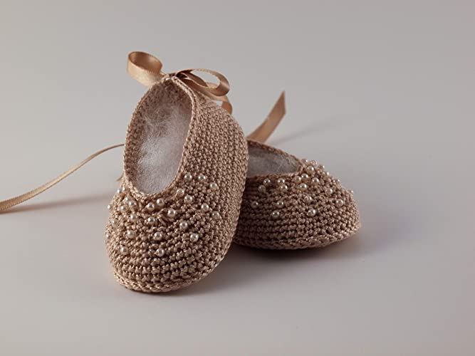 5c356dc9c0b19 Amazon.com: Baby Girl Ballerina with Pearls NewBorn Shoes - Crochet ...