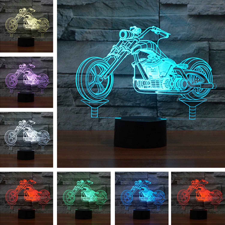 新しいファッションクール3dオートバイ夜間ライトタッチスイッチデコレーションテーブルデスクOptical Illusionランプ7色変更ライトLEDテーブルランプXmasホームLove Brithday子供キッズ装飾おもちゃギフト B072LZN68H