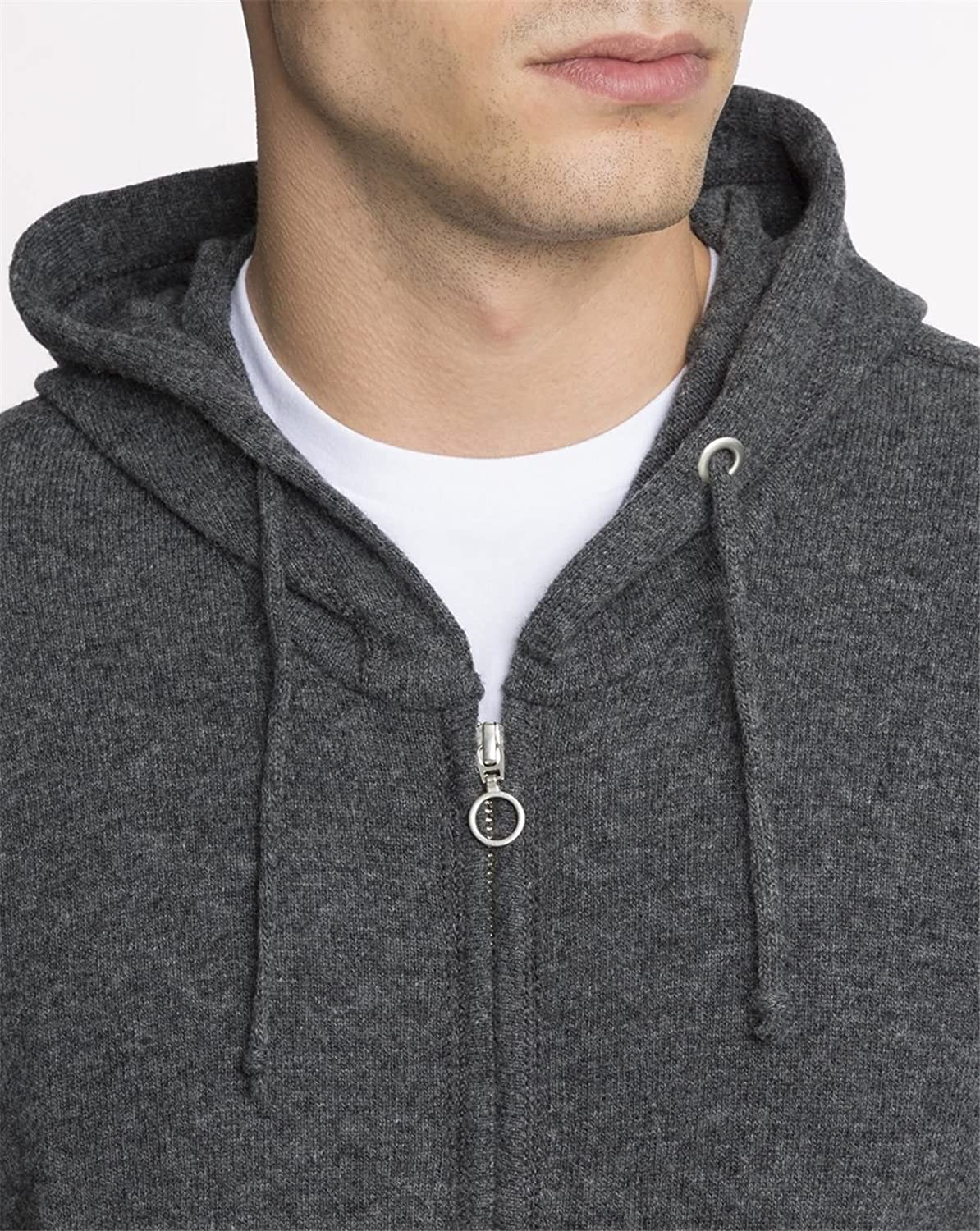KNOWLEDGE COTTON APPAREL - Crew-neck Sweaters - Men - Grey Hooded Zip-Up Jumper for men