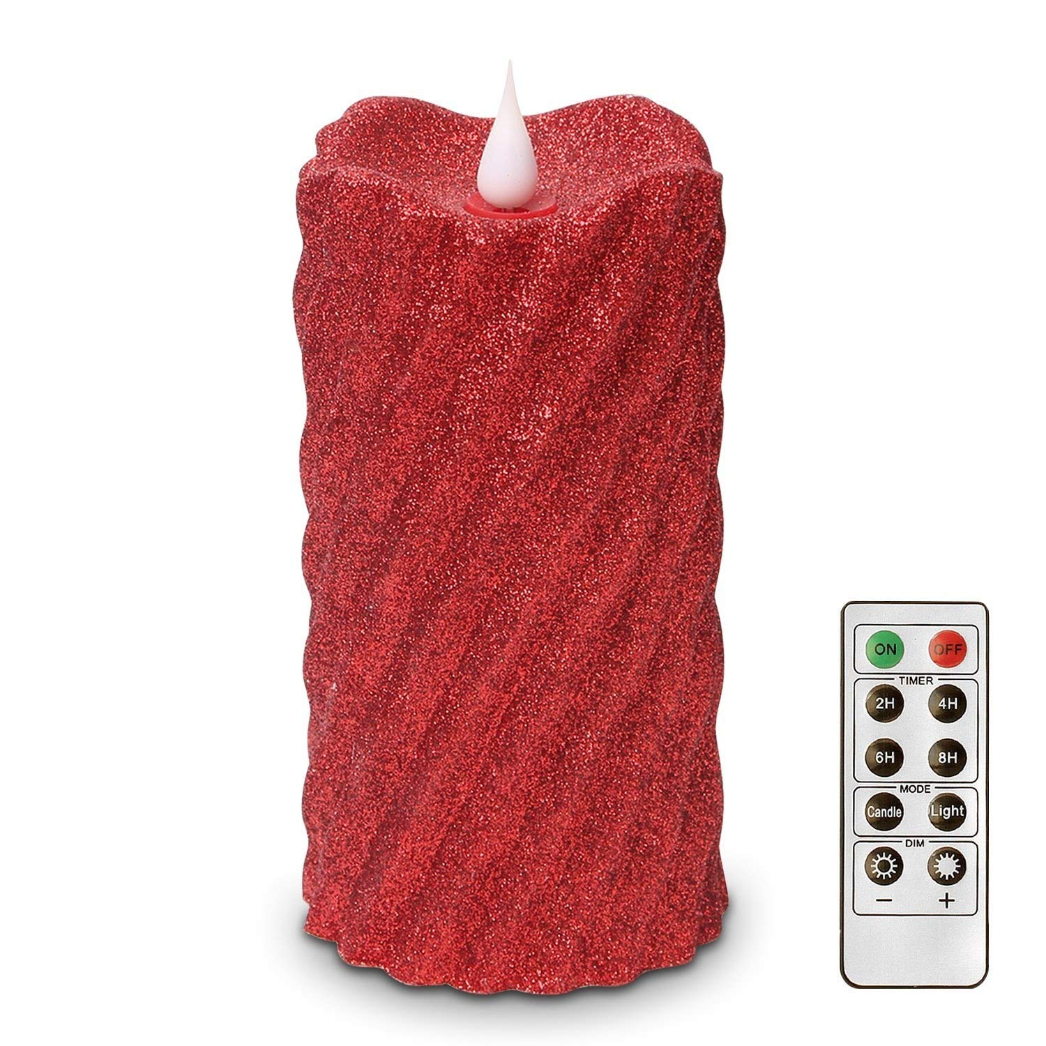 Red Flameless Candles with Timer - LED Battery Operated Candles with Remote, Wax Flameless Flickering Candles for Christmas Decorations by HANPURE