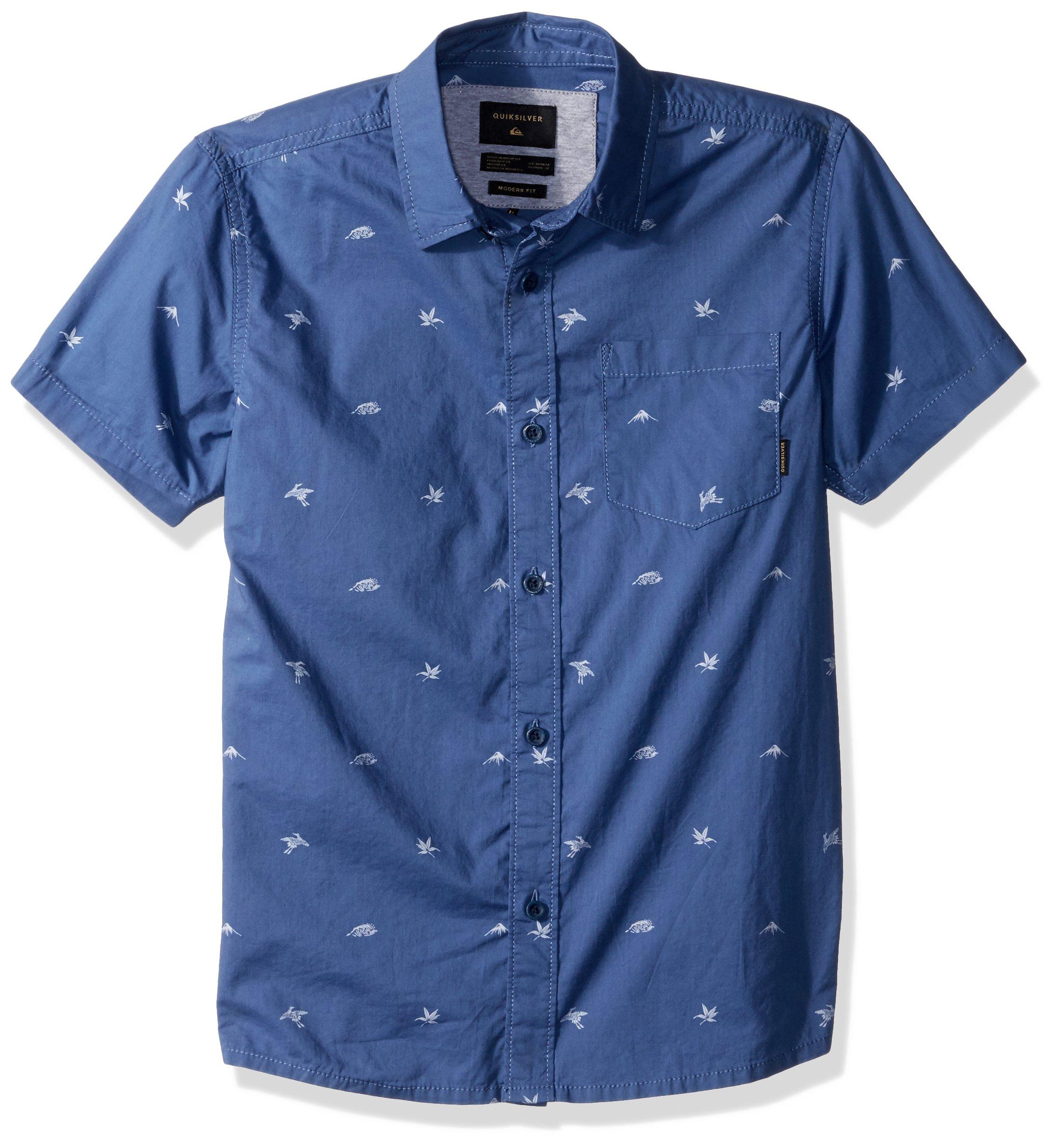 Quiksilver Big' Short Sleeve Fuji Mini Motif BOY Button UP Shirt, Bijou Blue mo, S/10
