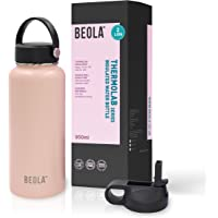 BEOLA 950ml Water Bottle 18/8 Stainless Steel 304 Double Wall Insulated Thermos Bottle with Straw Lid and wide mouth, 2…