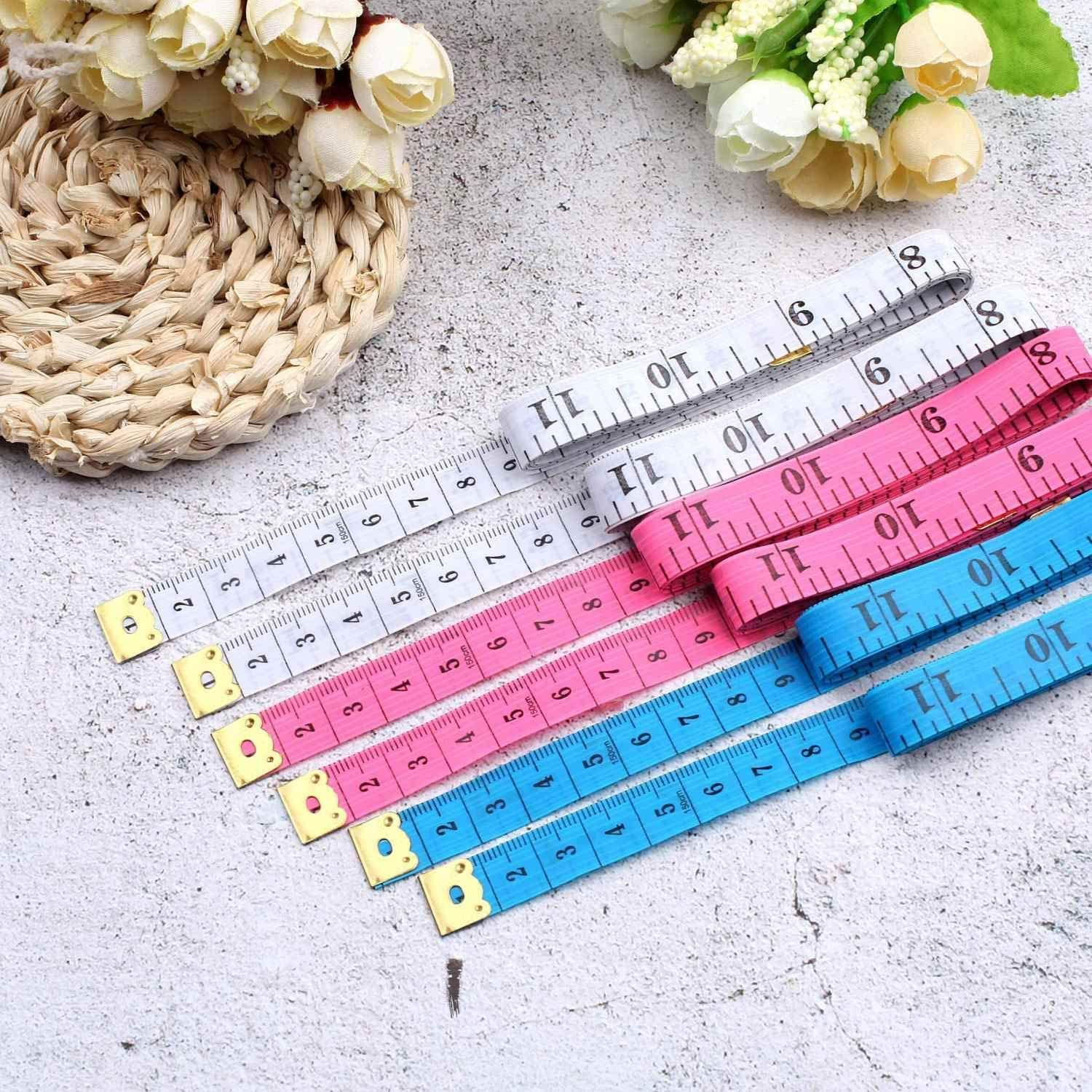 60 Inch 150 cm Soft Tailor Tape Measure for Cloth Sewing Waist Bra Head Circumference Tailor Double Sided Cloth Ruler (1pcs) Blue