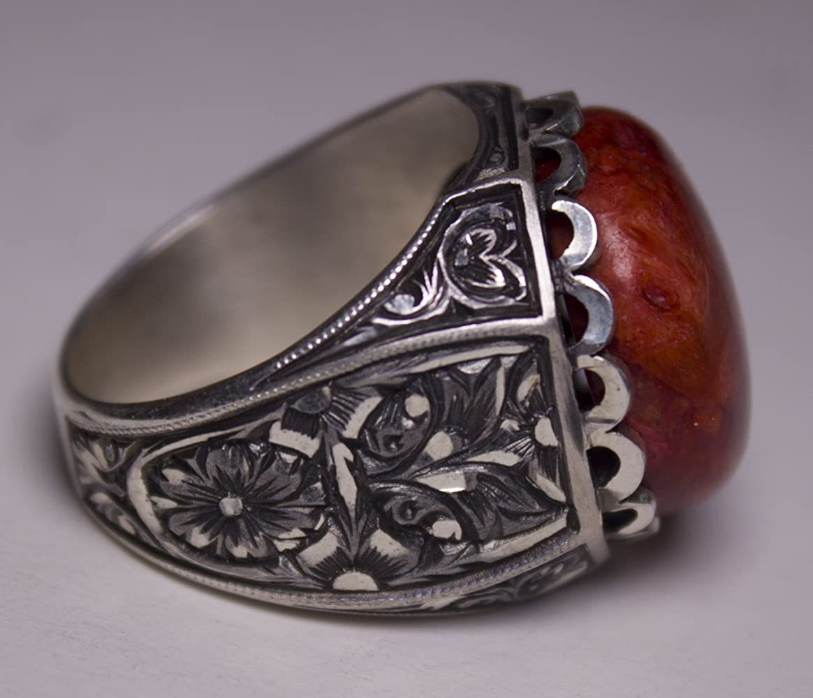 Falcon Jewelry 925 Sterling Silver Mens Ring Red Coral Natural Gemstone