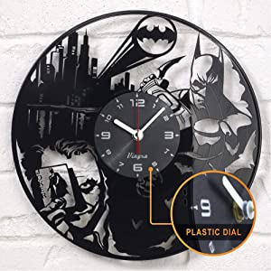 "Vinyra Vinyl Wall Clock compatible with DC Comics Batman VS Joker Super Hero Dark Knight Arkham City Themed Home Gift Set Idea for Adults Men Women Boys Room Wall Art Vintage Decor 12"" LP Record Black"