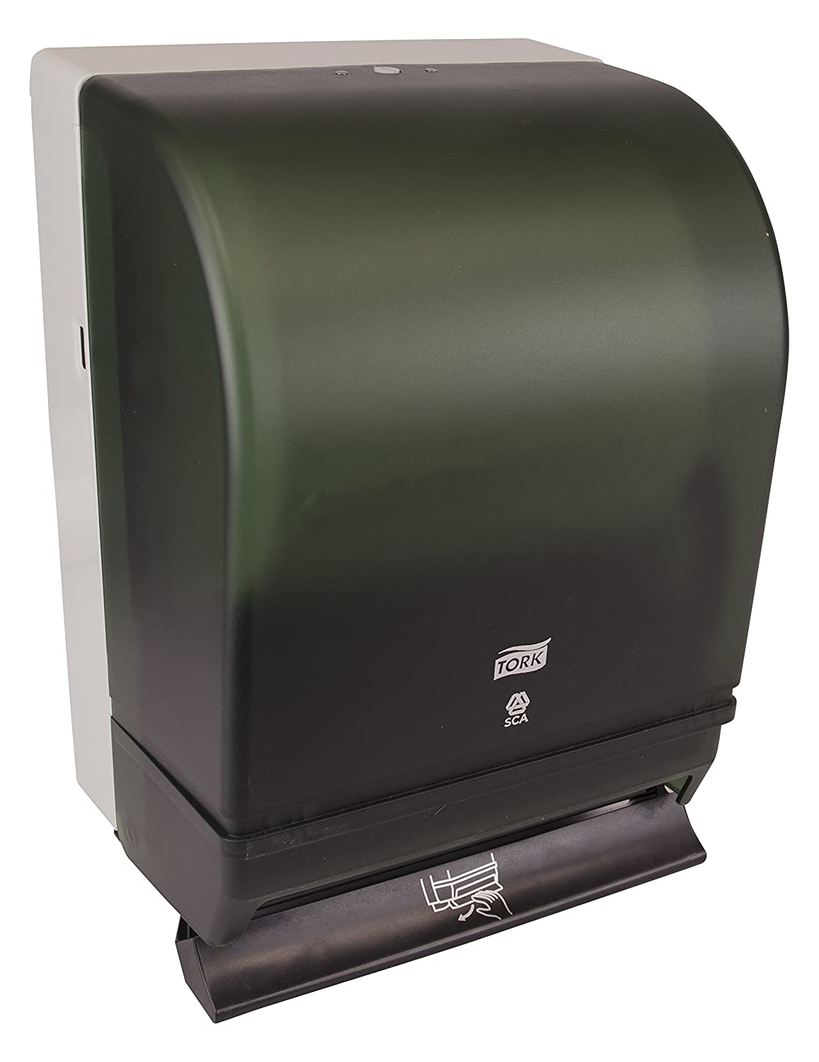 Tork 87T Hand Towel Roll Dispenser, Push Bar, Auto Transfer, Plastic Door w/Steel Back, 15.75