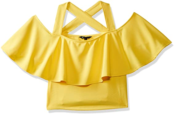 384ca54caa7a10 Veni VIDI VICI Yellow Frilled Strappy Crop Top  Amazon.in  Clothing ...