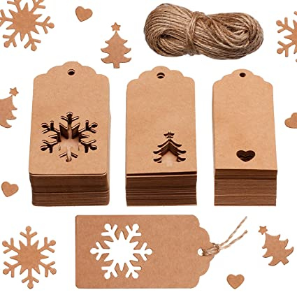 Christmas Gift Tags Diy.Leinuosen 150 Pieces Christmas Gift Tags Kraft Gift Tags Snowflake Heart And Christmas Trees Shapes With 20 Meters Twine For Diy Arts And Crafts