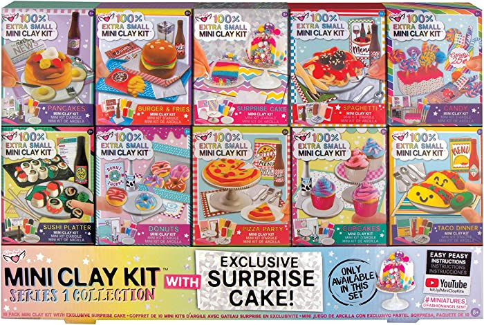 Fashion Angels 100% Extra Small Mini Clay Kit Super Set, Air Dry Clay/ Tiny Food Clay Kit