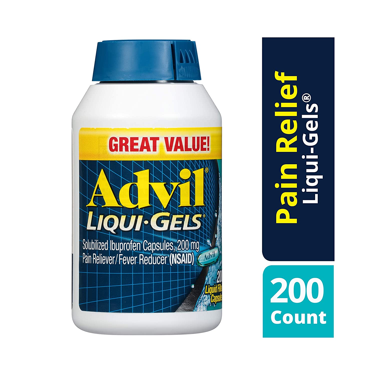 Advil Liqui-Gels (200 Count (Pack of 1)) Pain Reliever / Fever Reducer Liquid Filled Capsule, 200mg Ibuprofen, Temporary Pain Relief