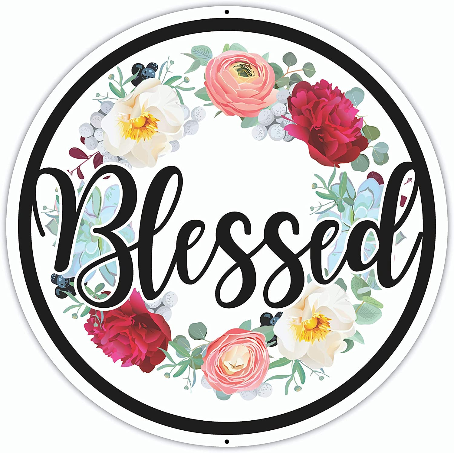Blessed Sign - 12 x 12 Inches - Aluminum - Blessed Wall Decor - Blessed Signs for Home Decor Wall - Large Metal Blessed Family Wreath Art