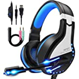 NPET HS10 Stereo Gaming Headset for PS4, PC, Xbox One Controller, Noise Cancelling Over-Ear Headphones with Mic, Soft Memory