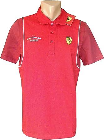 Ferrari/Fórmula 1 – Mens Santander Alonso Polo Camiseta – Rojo ...