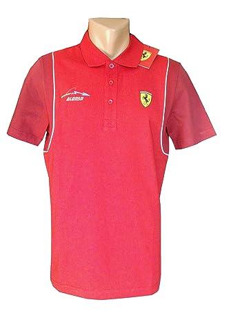 Ferrari Fórmula 1 - Mens Santander Alonso Polo Camiseta - Rojo ... b51e8375fb8