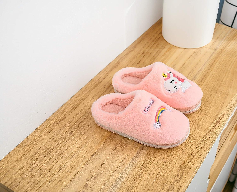 HausFine Zapatillas de Estar por Casa para Ni/ñas Ni/ños Invierno Zapatillas de Unicornio Interior Casa Caliente Pantuflas Suave Calentar Antideslizante Slippers