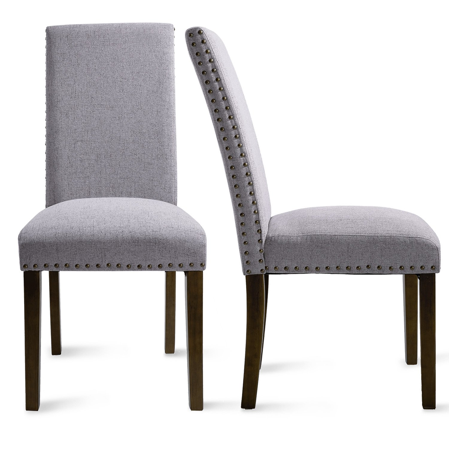 Merax PP036415 Set of 2 Fabric Dining Chairs with Copper Nails and Solid Wood Legs by Merax (Image #7)