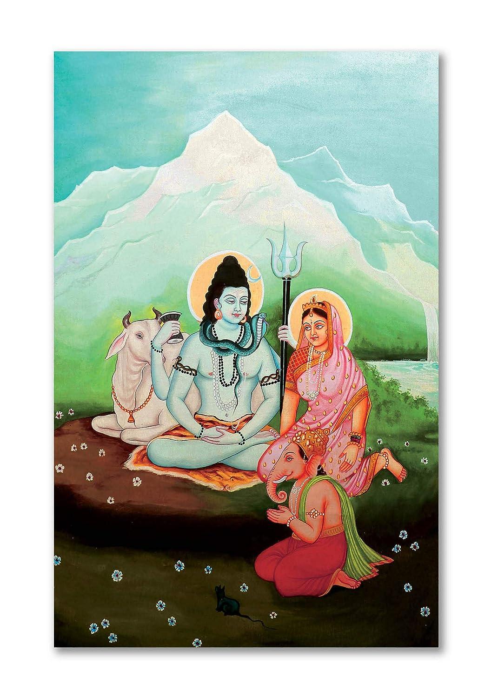 Tamatina Shiva Canvas Painting Lord Shiva Parvati Ganesh