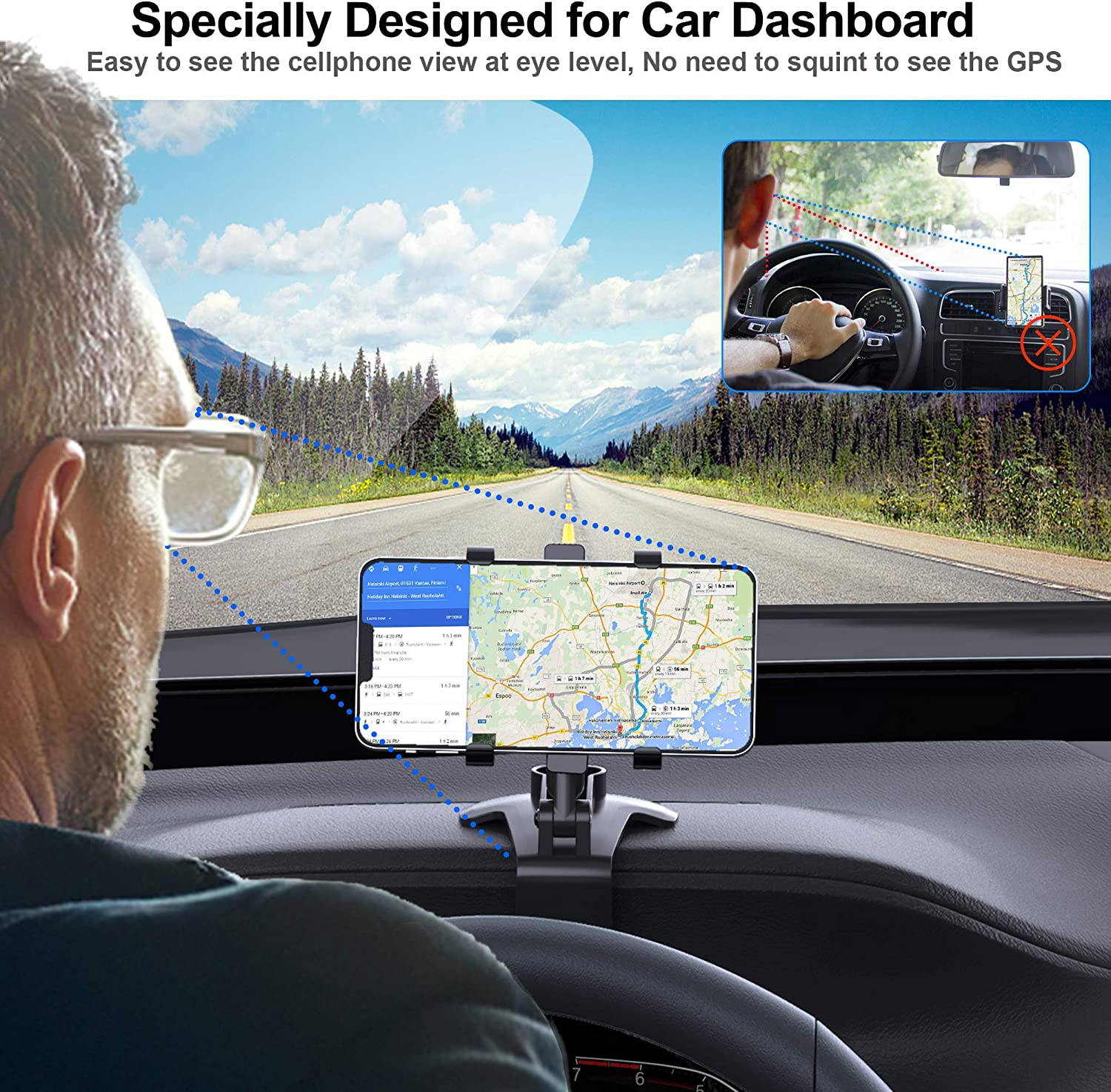 dashboard clip cell phone holder