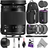 Sigma 18-300mm F3.5-6.3 Contemporary DC Macro OS HSM Lens Canon DSLR Cameras w/Advanced Photo Travel Bundle