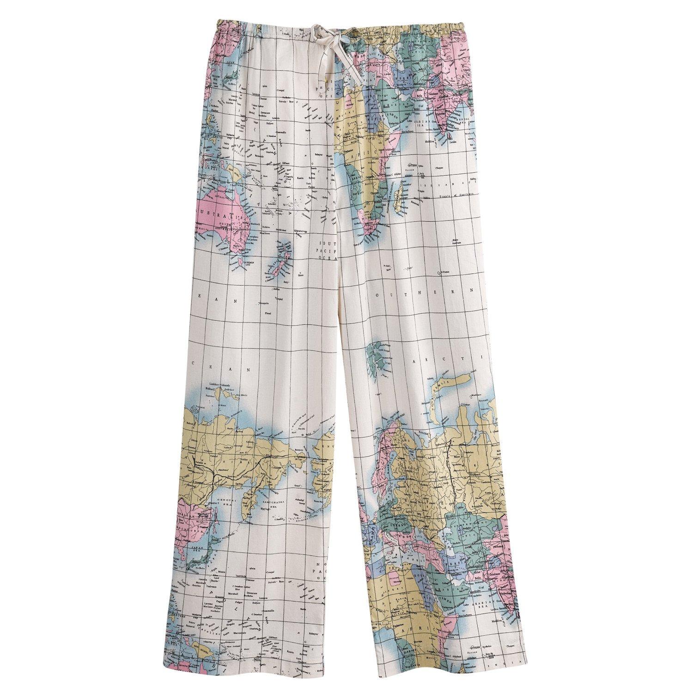 WHAT ON EARTH Women's World Map Pajama Capri Lounge Pants - Cotton Pajama Bottoms