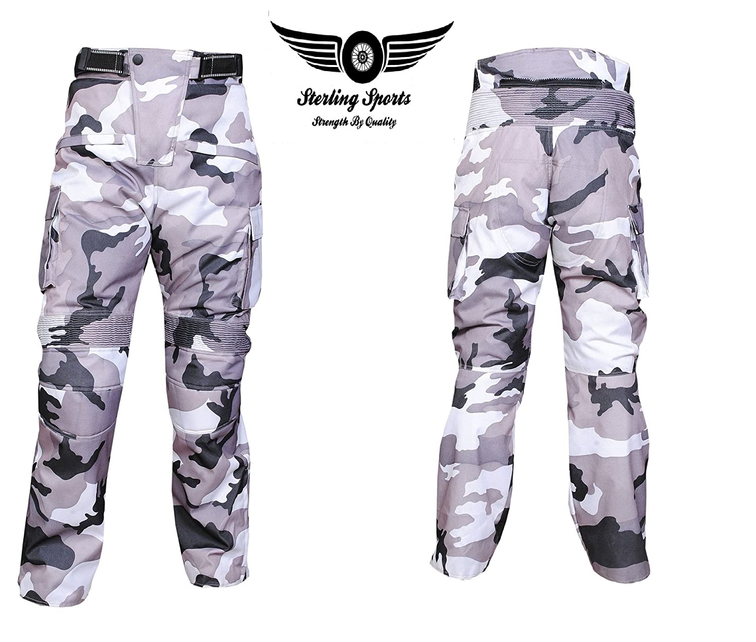 Black Cargo, 36Wx32L Sterling Sports/®Men Textile Waterproof Motorbike Motorcycle Thermal Armoured Trouser Cargo Pant Black Cameo Grey Green