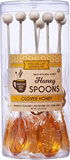 product image for Melville Candy Real Clover Honey Spoons, 8 Lollipop Stirrers, Complements Gourmet Treats and Beverages - Coffee, Tea, Cocoa, Hot Chocolate, Cocktails - Perfect for Holidays and Gifts