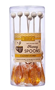 Melville Candy Real Clover Honey Spoons, 8 Lollipop Stirrers, Complements Gourmet Treats and Beverages - Coffee, Tea, Cocoa, Hot Chocolate, Cocktails - Perfect for Holidays and Gifts