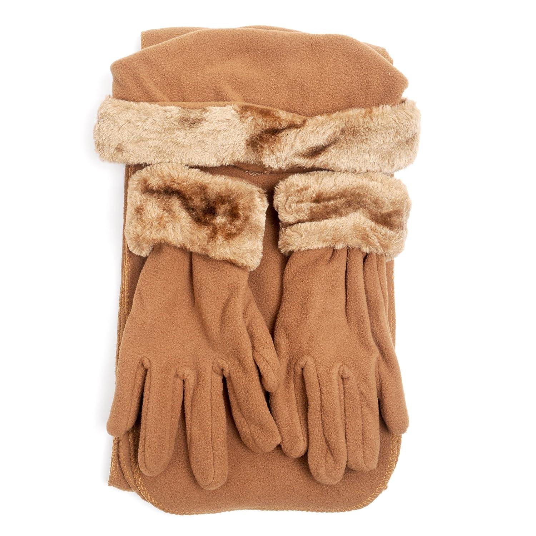 Cloche Fur Trim 3 Piece Fleece Hat, Scarf & Glove Women's Winter Set, Light Brown boxed-gifts WSET60.SL.Light Brown