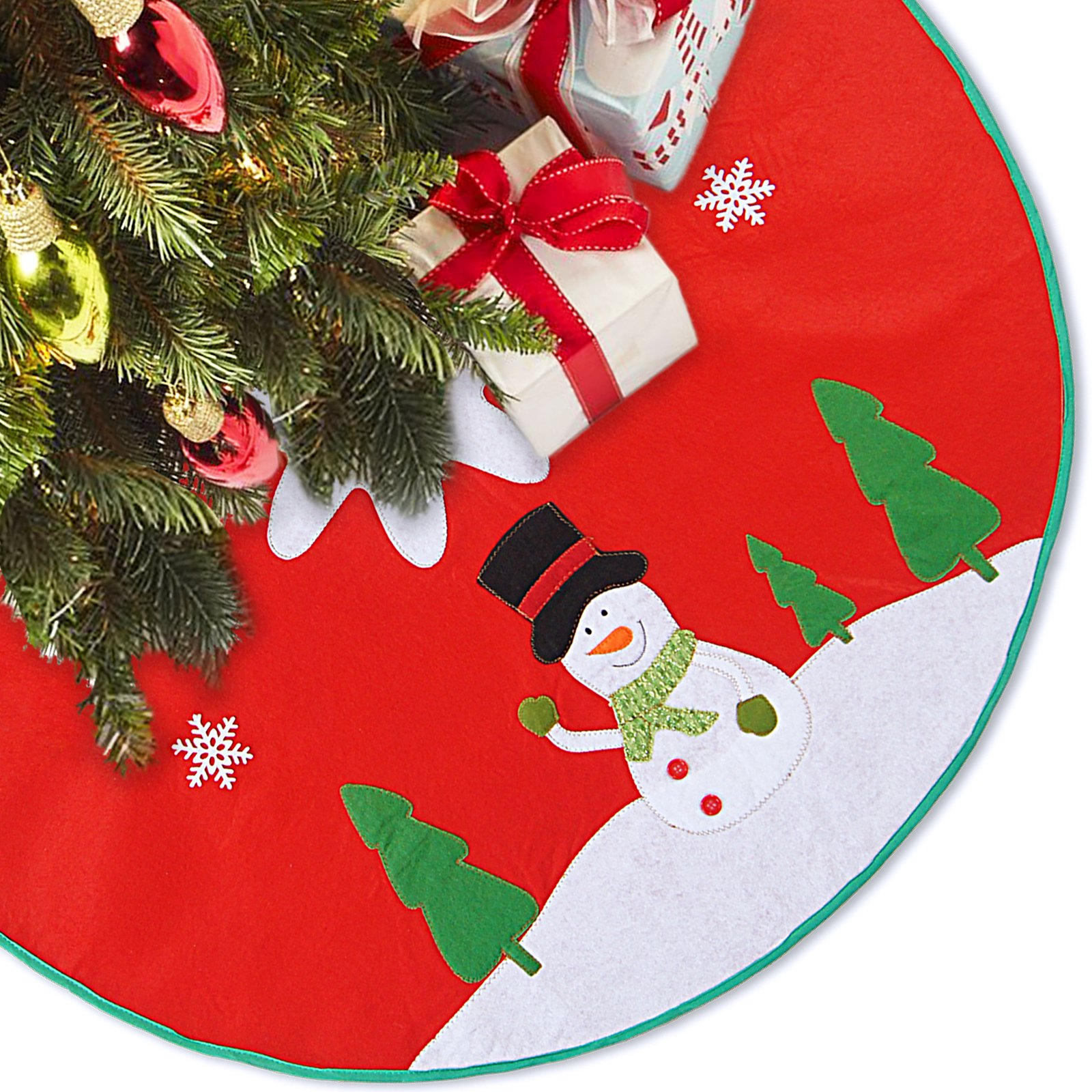 LimBridge 48'' Rustic Red Felt Christmas Tree Skirt with Stitched Snowman Snowflake Xmas Holiday Decoration by LimBridge